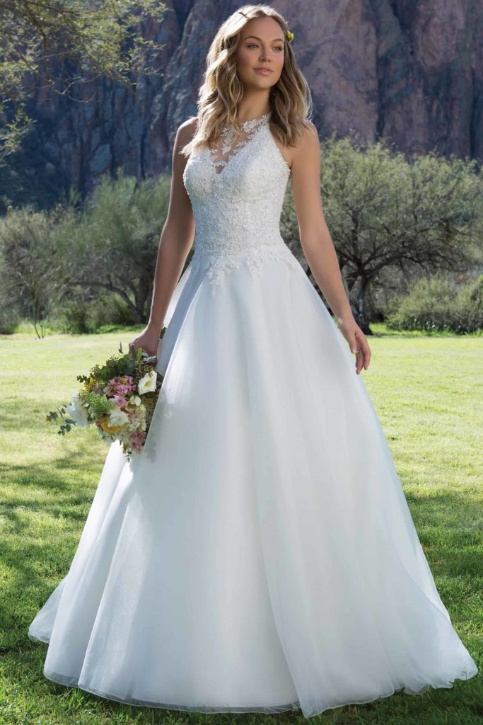Ivory, A-line wedding dress beaded lace tulle skirt racer neckline