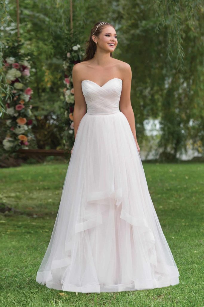 Wedding Dress, A-line style, Ruffle Skirt, Strapless, Rouched Bodice, Blush Colour